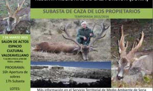 Subasta de 117 piezas de caza en la Reserva de Caza de Urbión
