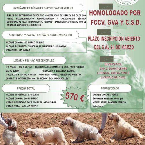 Matricula abierta para el Curso de entrenador deportivo de perros de caza de la FCCV