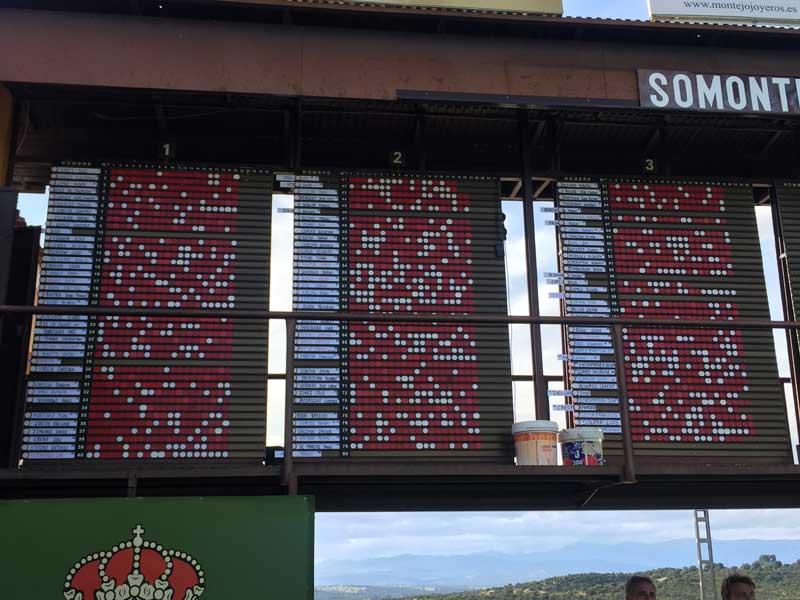 Pizarra final de la II prueba del Campeonato de España de Hélices FAN 32