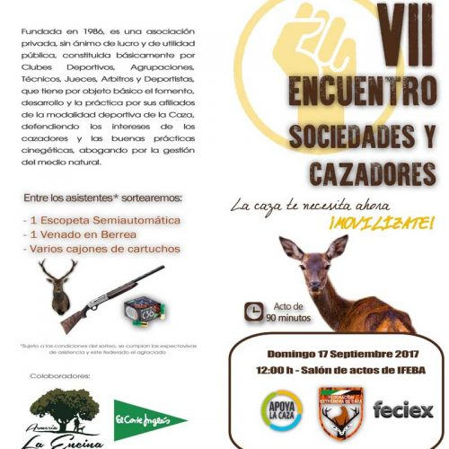 FEDEXCAZA convoca el VII Encuentro de Sociedades y Cazadores