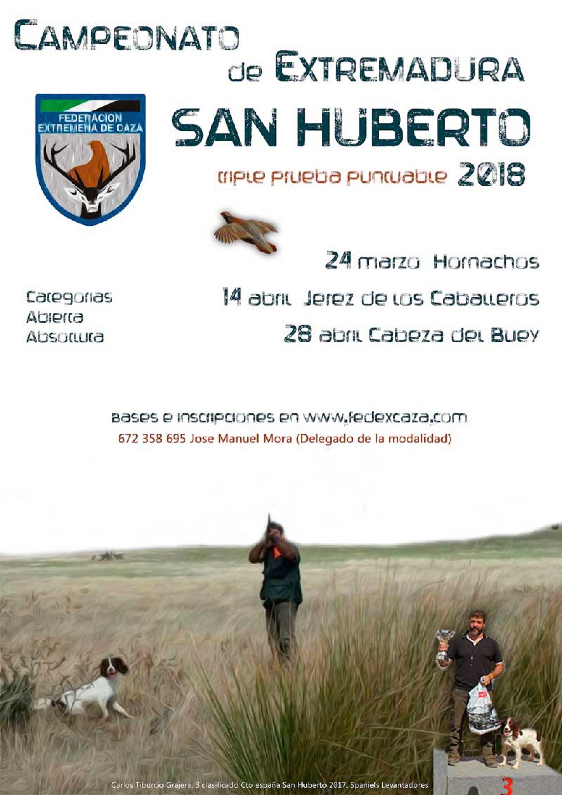 Campeonato de Extremadura de San Huberto se desarrollará en 3 fases