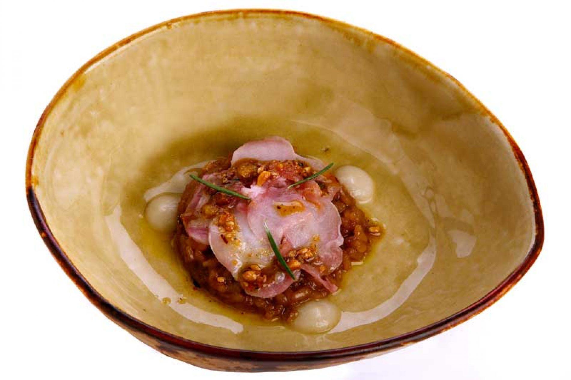 Receta conejo en carpacho y arroz seco