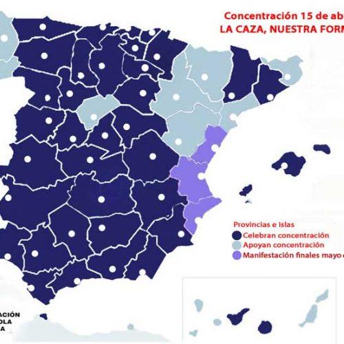 El mapa de España se pinta de azul en defensa de la caza