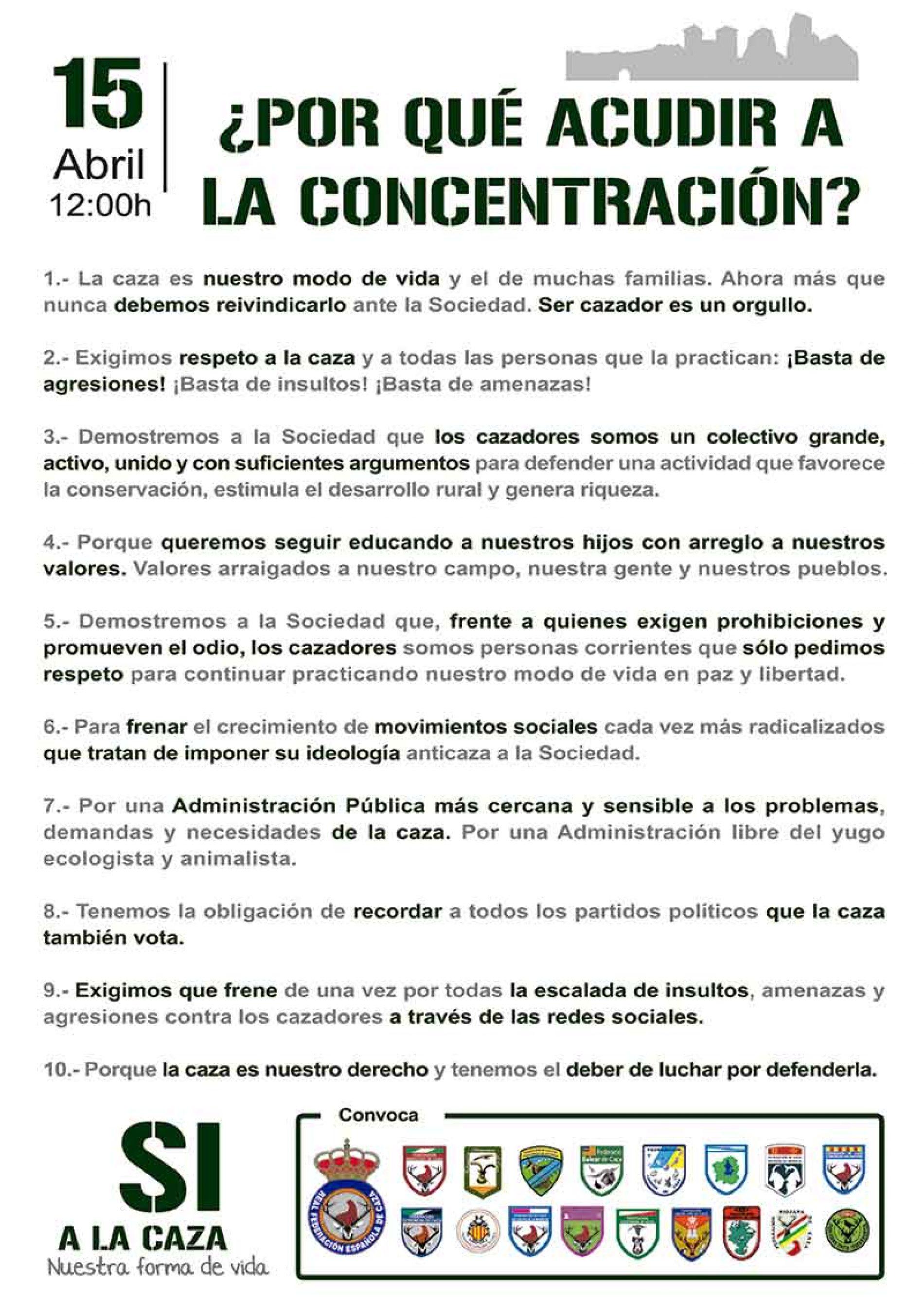 10 razones para acudir a la concentración de cazadores del 15 de abril