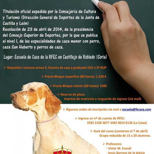 Comienza el curso de 'Monitor Deportivo-Adiestrador de Perros de Caza'