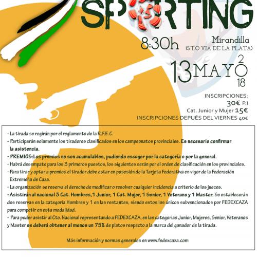 Campeonato de Extremadura de Compak Sporting el 13 de mayo en Mirandilla