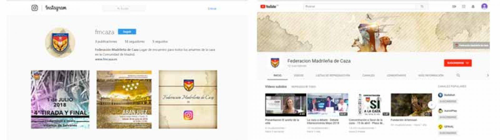 La Federación Madrileña de Caza presente en Youtube e Instagram