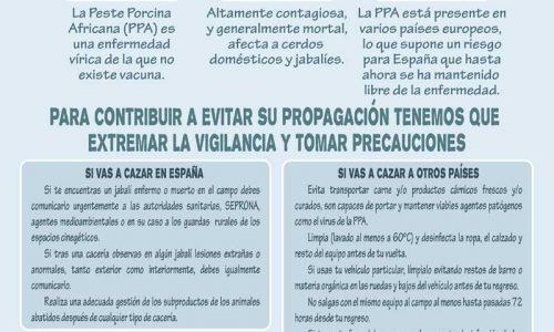 Infografía con las medidas de actuación ante la Peste Porcina Africana (PPA)