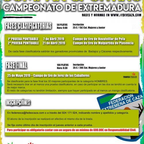 En abril se celebrarán dos fases puntuables del Campeonato de Extremadura de Compak Sporting