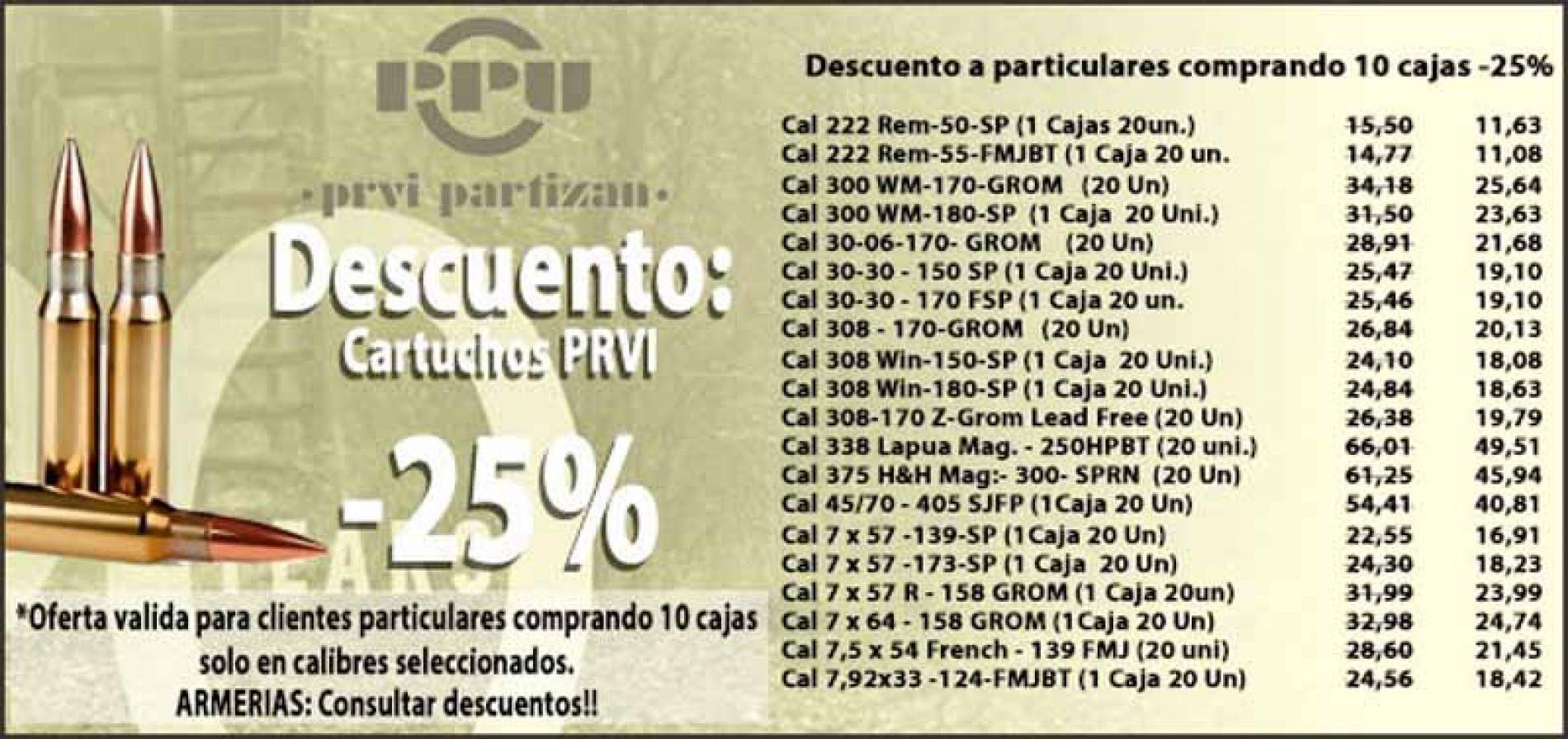 Oferta en Munición PRVI PARTIZAN 25% de descuento en Armería A. Izquierdo