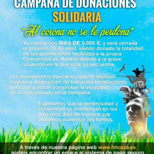 """Campaña de donaciones solidaria """"Al corona no se le perdona"""""""