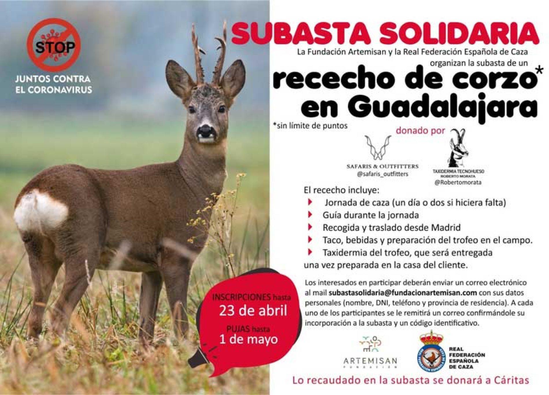 Fundación Artemisan subasta un rececho de corzo cuya recaudación se destinará a la campaña solidaria lanzada con la RFEC