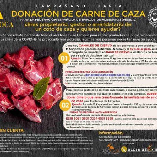 APROCA lanza una campaña solidaria para la donación de carne de caza a los Bancos de Alimentos