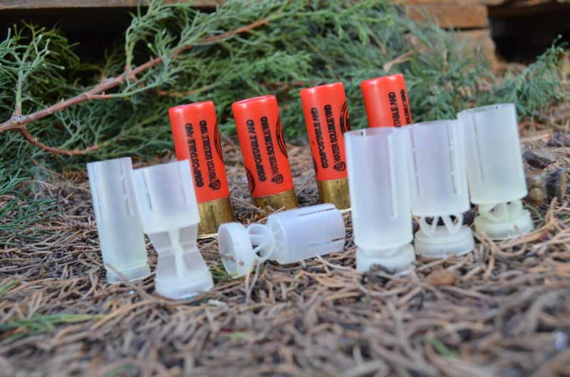 Únicos tacos para cartuchos de caza solubles en agua, biodegradables y compostables con certificación europea