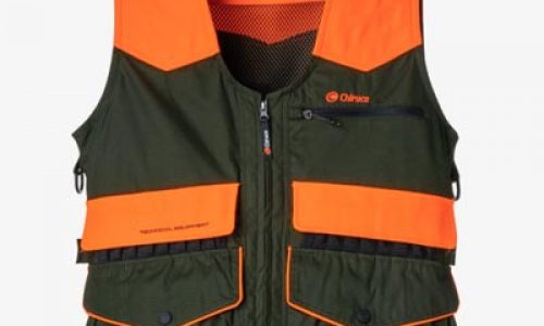 Chaleco de caza de alta visibilidad, con doble bolsillo morral