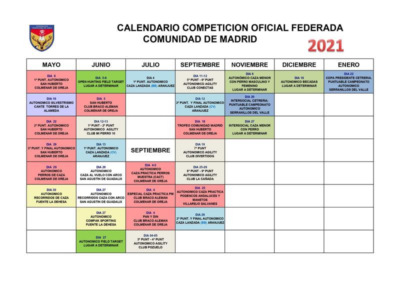 calendario-competiciones-Federación Madrileña